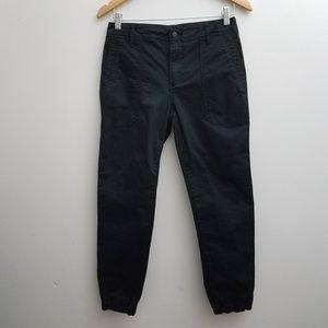 VINCE Pants Capri Crop Black Zip Cinch Hems Sz 28
